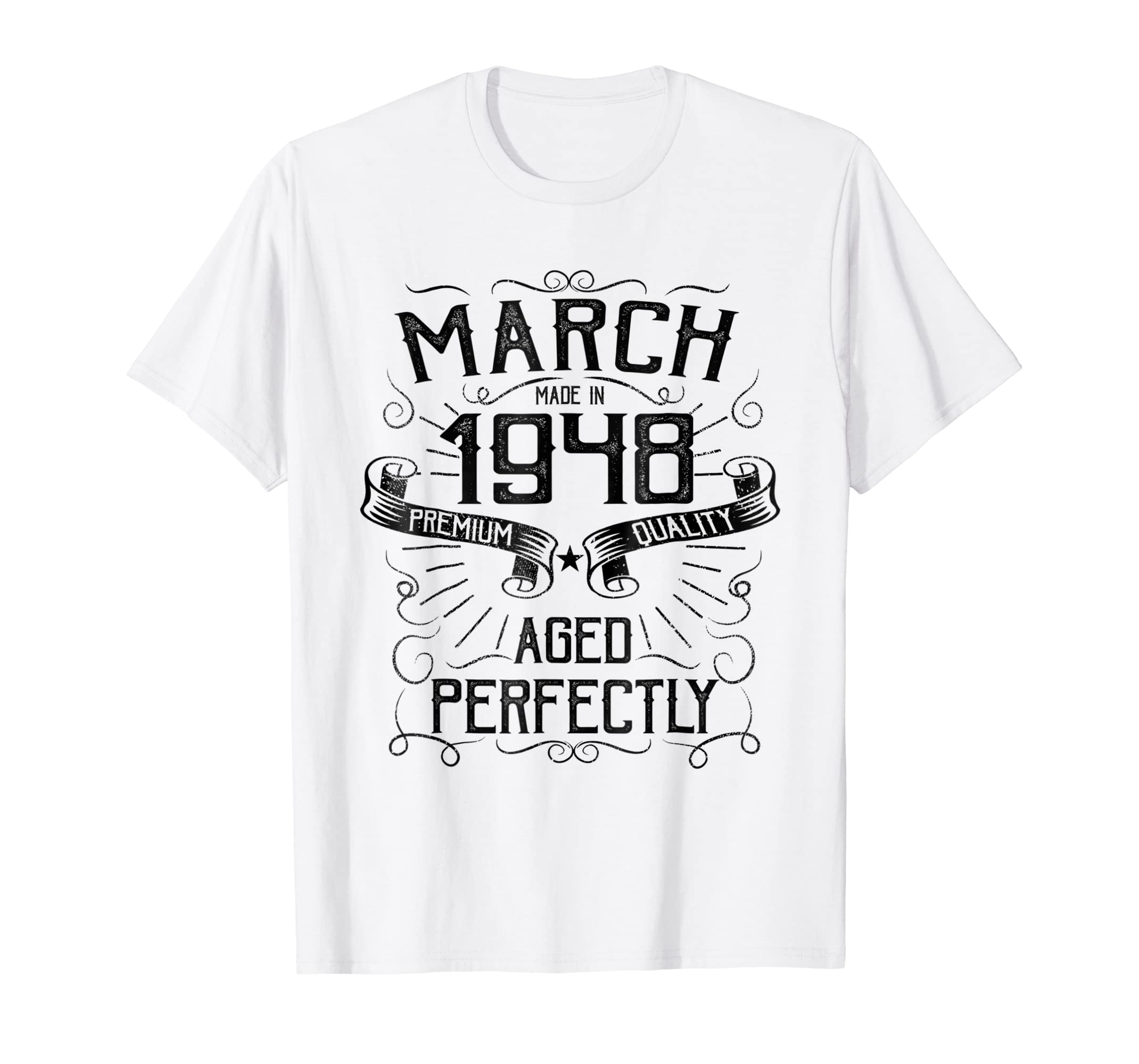 12c3c173a39d Amazon.com  Vintage March Made in 1948 T-Shirt 70th Birthday Gift Tee   Clothing