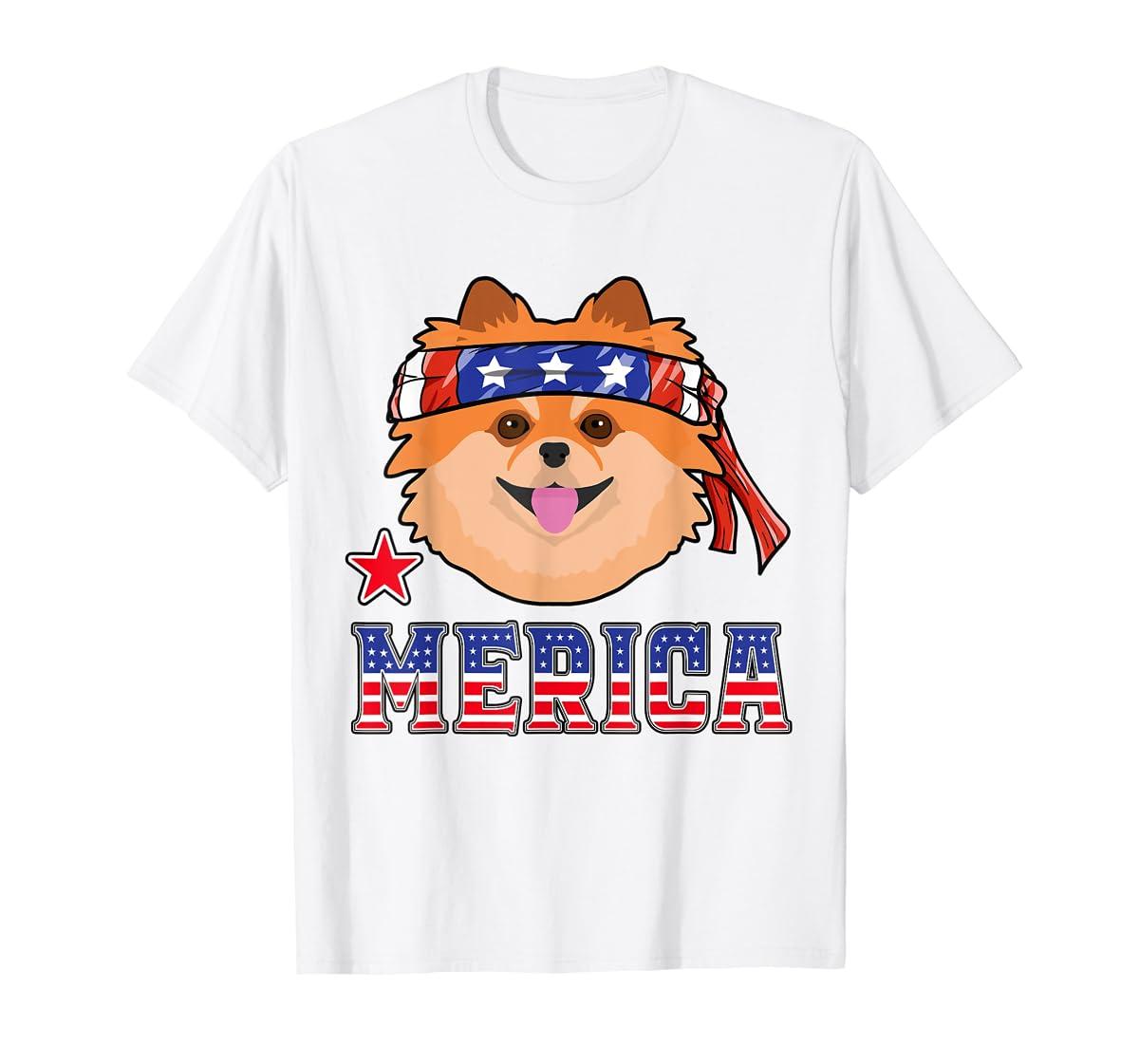 Pomeranian Dog Patriotic American 4th Of July Gift Dogs T-Shirt-Men's T-Shirt-White