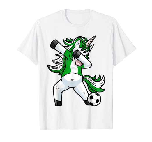 70e1144dbdd Image Unavailable. Image not available for. Color  Dabbing Soccer Unicorn T  Shirt Nigeria Nigerians Football