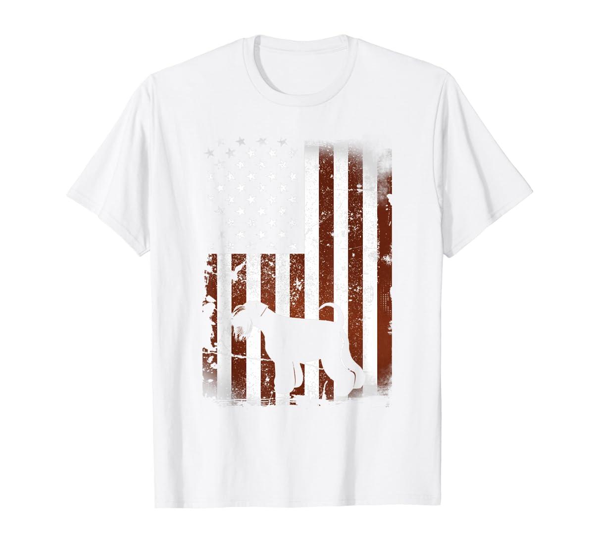 Miniature Schnauzer American Flag Dog 4th Of July T-Shirt-Men's T-Shirt-White