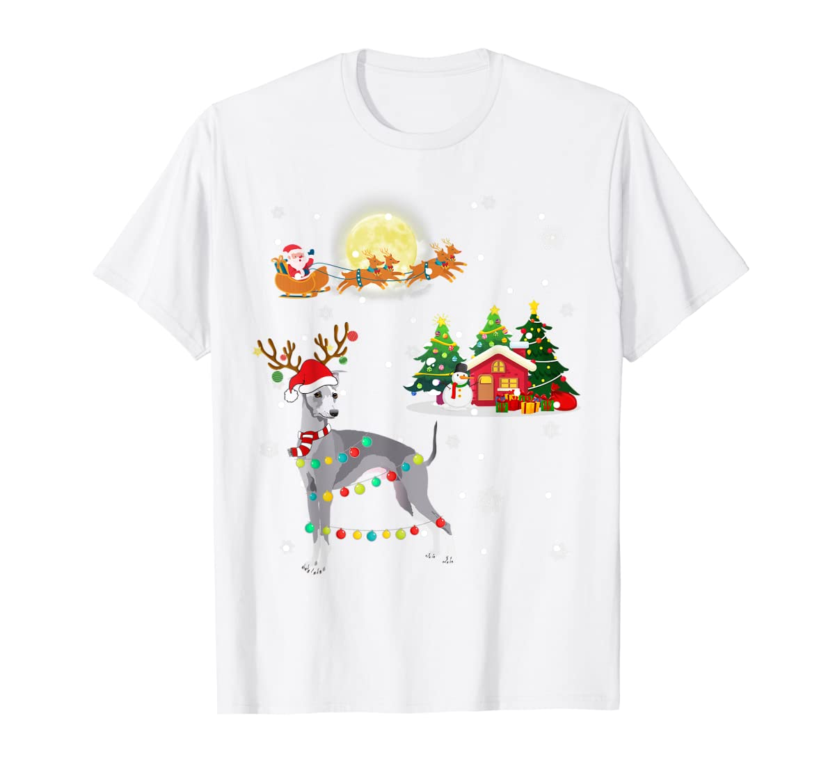 Greyhound Dog Led Light Christmas 2019 Gift T-Shirt-Men's T-Shirt-White