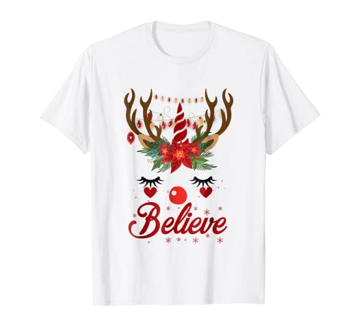 believe christmas t shirt funny unicorn reindeer lights gift