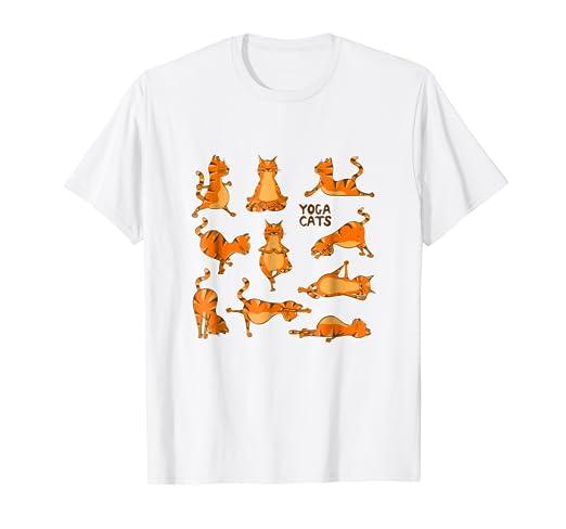 Amazon.com: Yoga T-Shirt Downward Cat Poses Namaste Yogi ...
