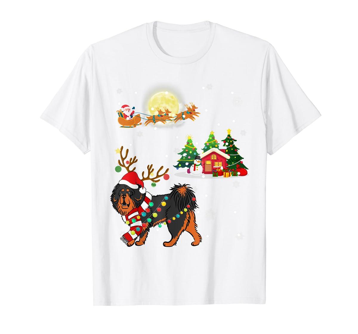 Tibetan Mastiff Dog Led Light Christmas 2019 Gift T-Shirt-Men's T-Shirt-White