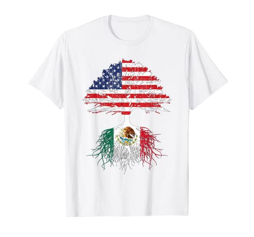 18d6512c6f Image Unavailable. Image not available for. Color: Mexican American Roots  Mexico Flag USA Shirt Men Women Kids. Roll over image to ...