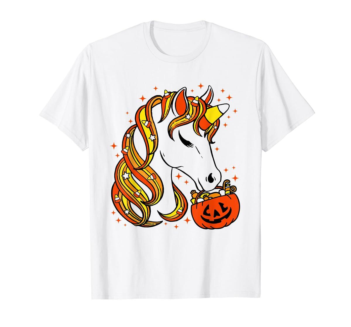Cute Candy Corn Unicorn Halloween Top T-Shirt-Men's T-Shirt-White