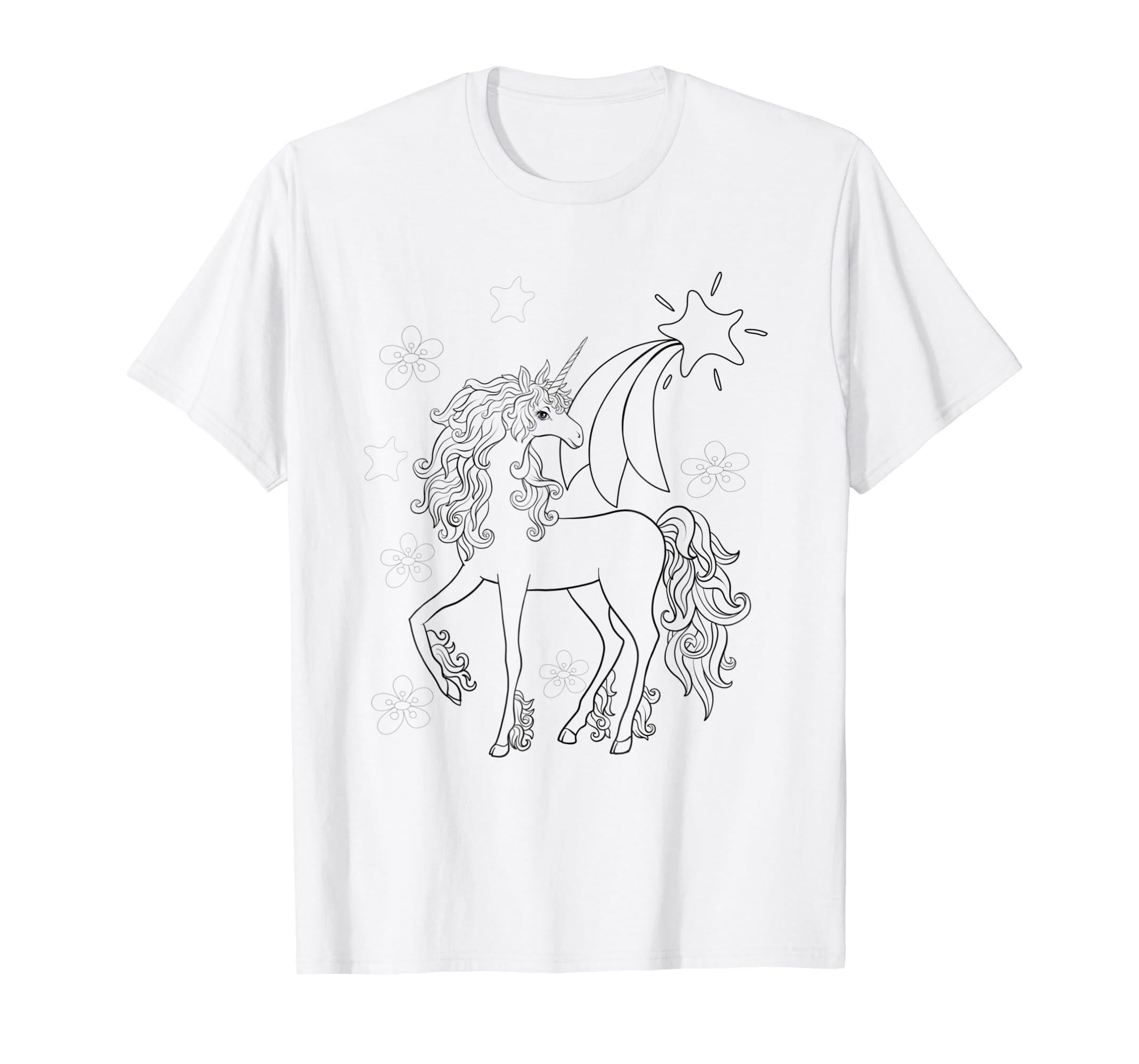 0315e6c9b Amazon.com: Unicorn Children Coloring Book Style T-shirt: Clothing