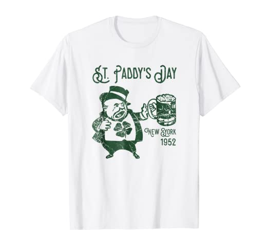 505132b10 Image Unavailable. Image not available for. Color: Retro Grunge St. Patrick's  Day New York 1952 Party t-shirt