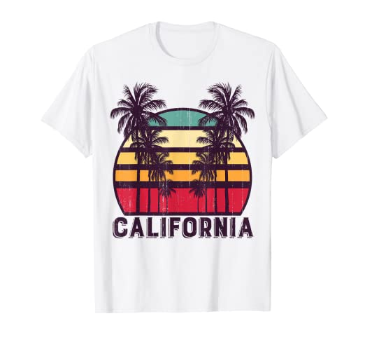dcc53a7e8e6 Image Unavailable. Image not available for. Color  California CA Retro 70 s  Vintage Skyline Surf Tee Shirt