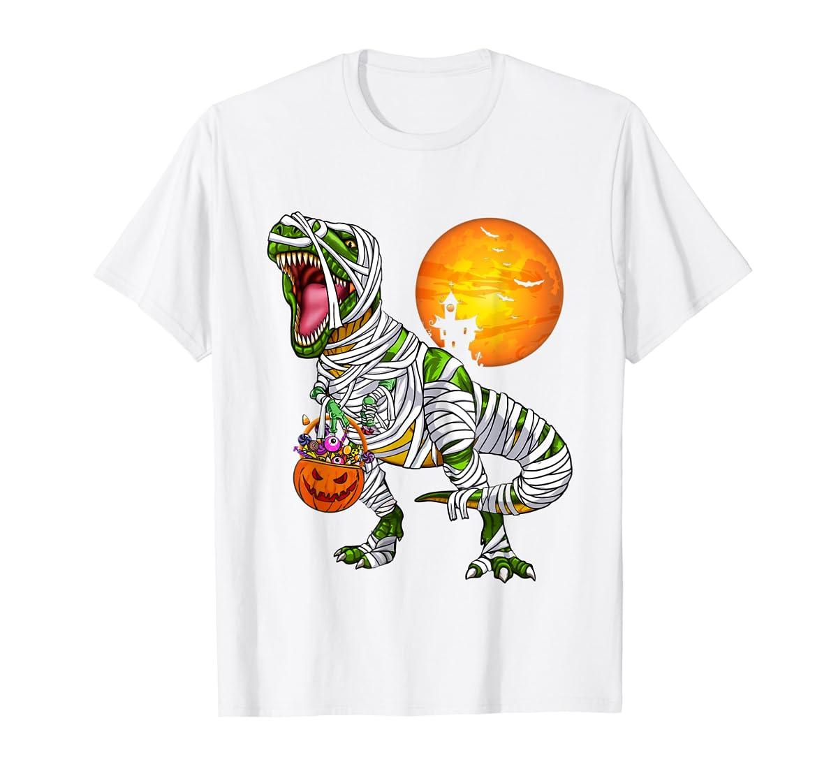 Halloween Gift For Boys Kids Dinosaur T rex Mummy Pumpkin T-Shirt-Men's T-Shirt-White