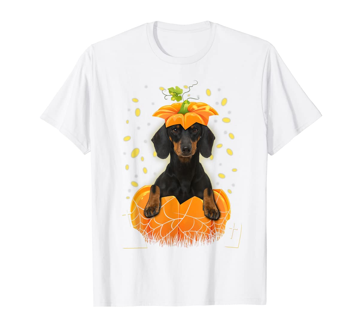 Happy Halloween Funny Dachshund Pumpkin T-Shirt-Men's T-Shirt-White