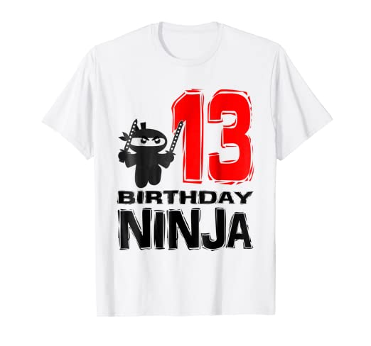Amazon Ninja 13th Birthday Shirt For 13 Year Old Boy Girl Party