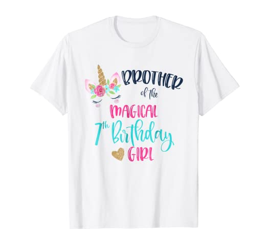 a4c0ace06 Image Unavailable. Image not available for. Color: Unicorn Brother of the  7th Birthday Girl Shirt ...