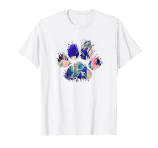 7be0ddfbb Image Unavailable. Image not available for. Color: Cute Blue Pink Dog Paw  Print Shirt Messy Gift Women Girl