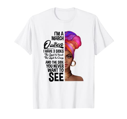 Image Unavailable Not Available For Color Queens Are Born In March Birthday T Shirt Black Women