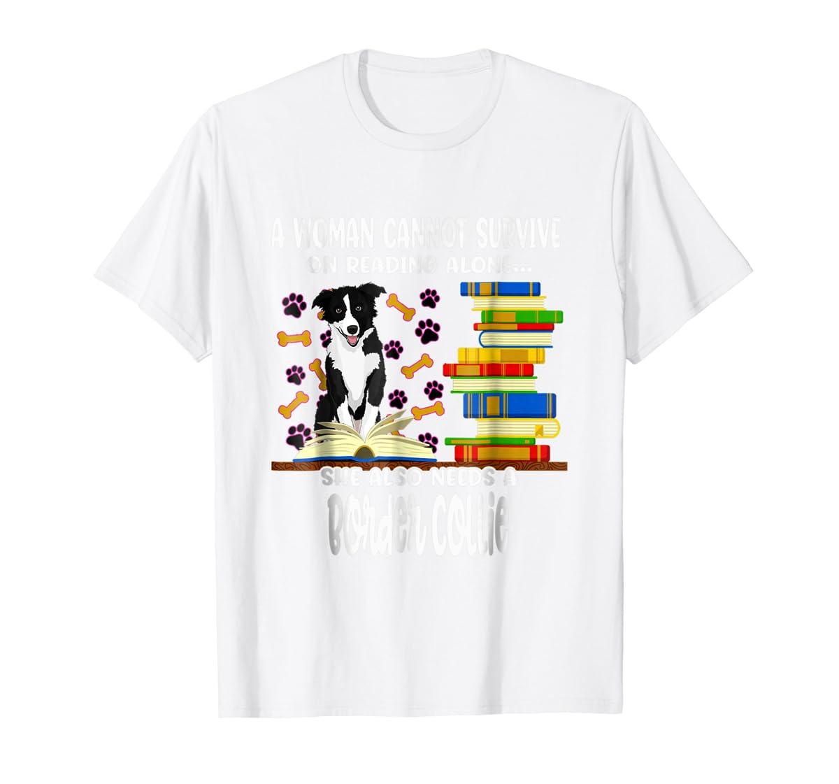 A Woman Reading Book Dog Border Collie Shirt-Men's T-Shirt-White