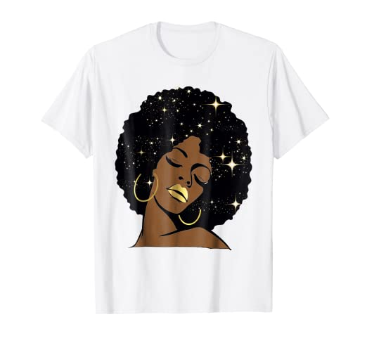 a33affdc Image Unavailable. Image not available for. Color: Gold Lips Stars Black  Girl Magic Afro Diva Shirt Melanin