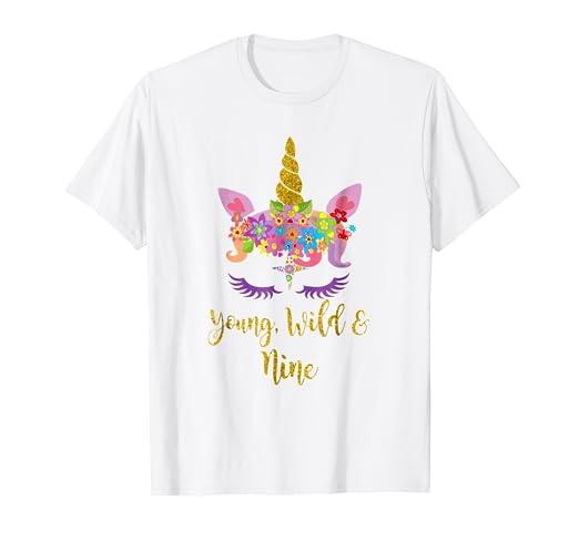 b7de67cf7 Amazon.com  9th Birthday Unicorn Girl Tshirt