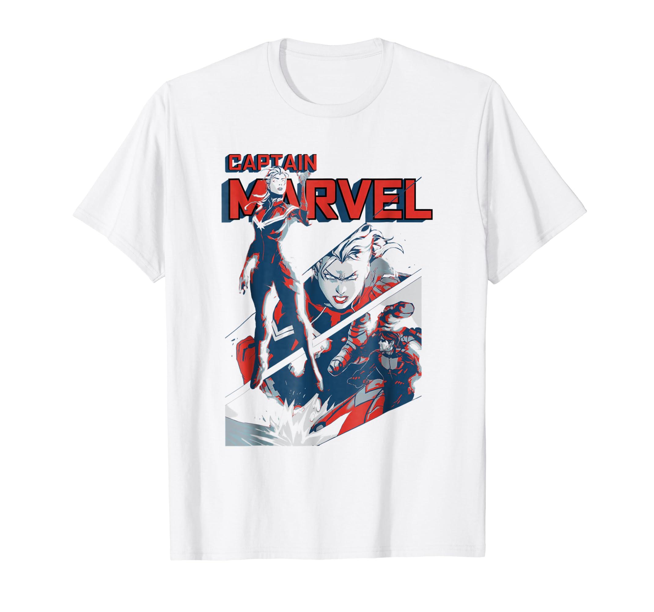 85db01f8c Amazon.com: Captain Marvel Earth's Mightiest Hero Intro Graphic T-Shirt:  Clothing