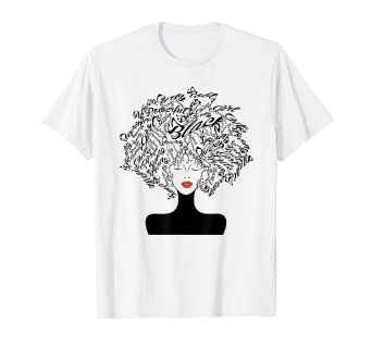 f757861e Amazon.com: Strong Black Woman With Afro Word Art Natural Hair Tee ...