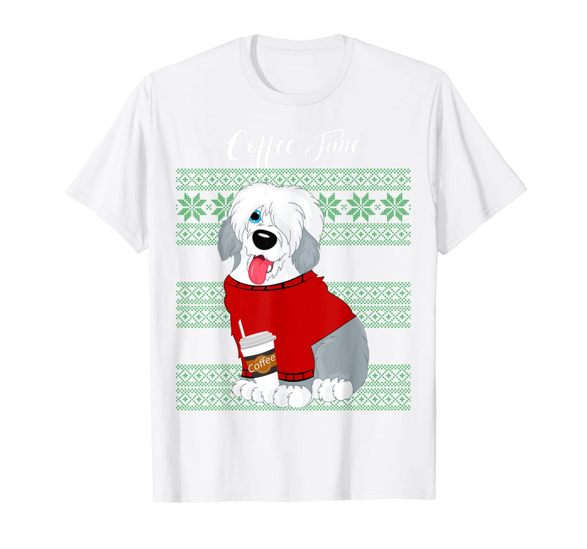 Old English Sheepdog Christmas Coffee Time Dog Long Sleeve-Men's T-Shirt-White