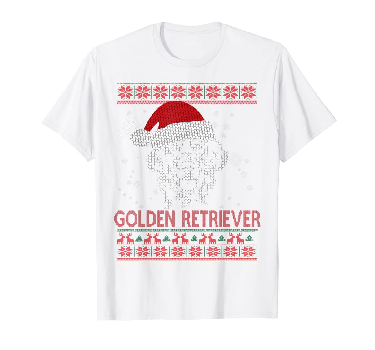 Ugly Christmas Golden Retriever Santa Hat Dog Gift T-Shirt-Men's T-Shirt-White
