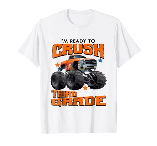 Amazoncom Third Grade Monster Truck Back To School Shirt Boys Gift