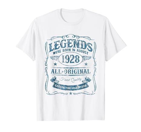 Legends Born In August 1928 Vintage 90th Birthday T Shirt