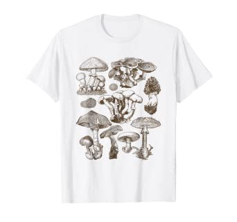 63655e4a9 Image Unavailable. Image not available for. Color: Mushroom botanical t- shirt ...