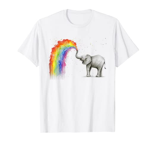 7caff446a Image Unavailable. Image not available for. Color  Elephant Spraying Rainbow  T-shirt Baby Elephant Watercolor
