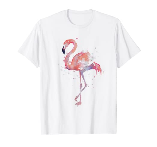3b86731b Amazon.com: Pink Flamingo Watercolor T-shirt: Clothing