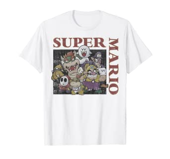 cea68975 Image Unavailable. Image not available for. Color: Super Mario Vintage Bad  Guys Group Shot Graphic T-Shirt