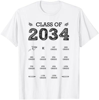2034년 졸업 티셔츠 핸드프린트 등급 ME T-SHIRT와 함께 증가