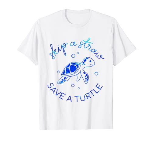 Skip A Straw Save A Turtle T Shirt Ocean Turtle Lover Gift