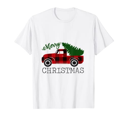 Merry Christmas Red Truck T Shirt Xmas Gift