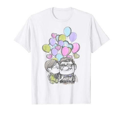 Disney Pixar Up Valentine's Day Carl And Ellie Balloons T Shirt