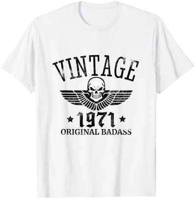 DISTRESSED BORN IN 1971 VINTAGE 50TH BIRTHDAY SKULL WING T-SHIRT