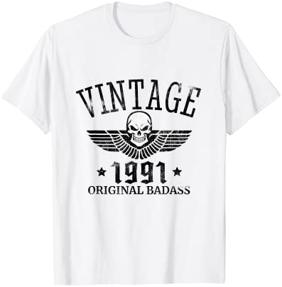 Distressed Born In 1991 Vintage 30th Birthday Skull Wing T-Shirt