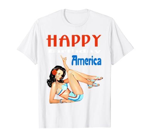 Amazon Happy Birthday America Pin Up Girl Graphic T Shirt Clothing