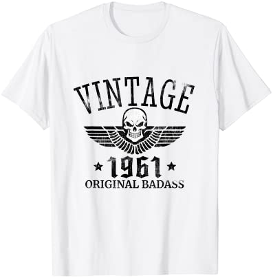 DISTRESSED BORN IN 1961 VINTAGE 60TH BIRTHDAY SKULL WING T-SHIRT