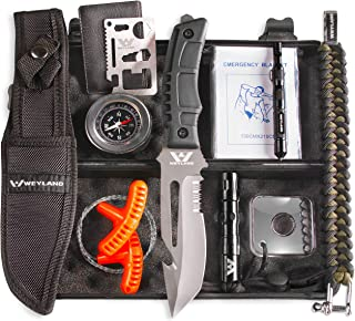 WEYLAND Outdoor Emergency Survival Kit - Tactical EDC Camping Tools and Hiking Gear with a Real Bushcraft Knife