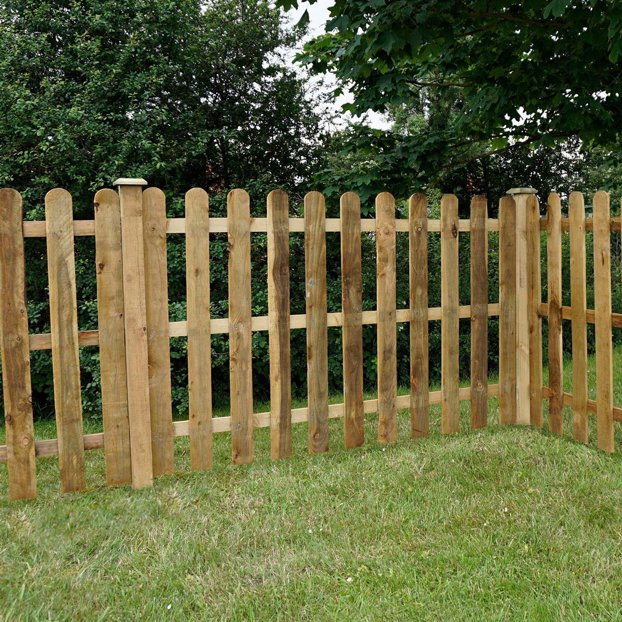 Waltons - Valla de madera tratada, puntas redondeadas, cercado para jardines, 1, 2 x 1, 8 m: Amazon.es: Jardín