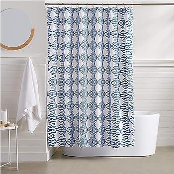 AmazonBasics Blue Diamond Bathroom Shower Curtain - 72 Inch