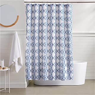 AmazonBasics Blue Diamond Bathroom Shower Curtain – 72 Inch
