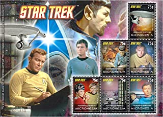 New official licensed Star Trek original series stamps for collectors - Rare - U.S.S. Enterprise, Starbase 11, Scotty, Dr. McCoy, Captain Kirk, Uhura, Chekov and Mr. Spock with beard. 6 flawless stamps - Mint NH - Superb condition - 2013 / Federated states of Micronesia / 75c / Serial: 001830
