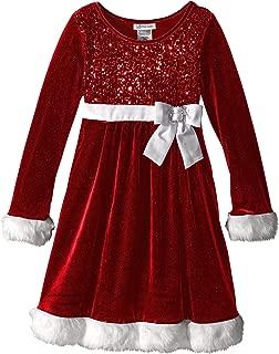 Girls' Sequin Bodice Santa Dress