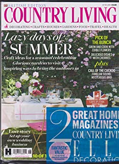 Country Living/ Elle Decoration Magazine 2 Pack British Edition June 2018