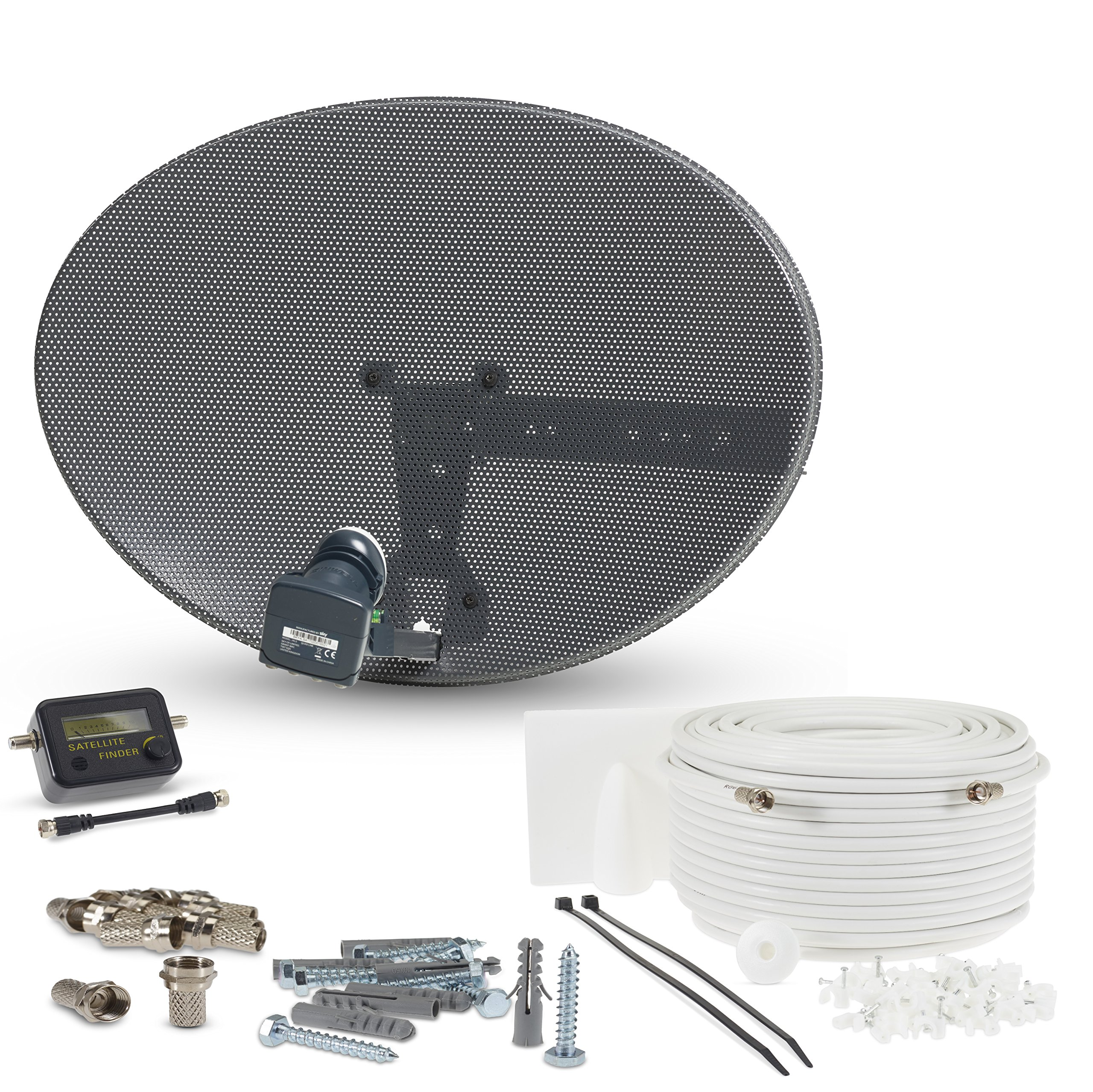 SSL Satellite Dish Kit for SKY/Freesat/Astra/Polsat/Hotbird/Full HD,Latest MK4 dish with Quad LNB,5m RG6 White Cable,Signal finder,Brackets,Bolts, F Connectors & instructions