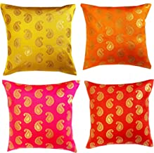 VIREO Dupion Silk Cushion Cover (12x12 inch) -Set of 4 Pieces