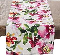 "SARO LIFESTYLE Watercolor Floral Design Linen Table Runner 16"" x 72"""